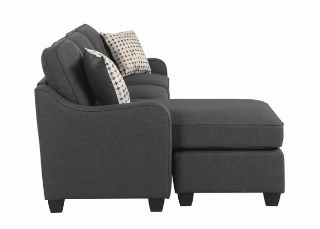 Nicolette Upholstered Reversible Sectional Sofa Dark Gray