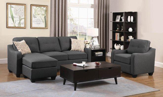 Nicolette Upholstered Reversible Sectional Sofa Dark Gray