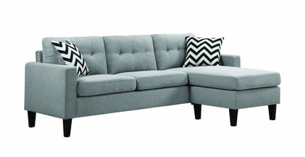 Metro Upholstered Tufted Reversible Sectional Sofa Light Gray