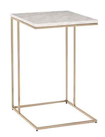 West Elm Streamline C-Side Table White  And Light Bronze