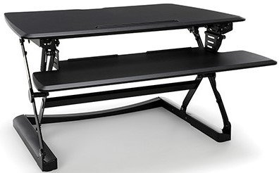 Height Adjustable Sit-to-Stand Desktop Riser With Keyboard Tray Black