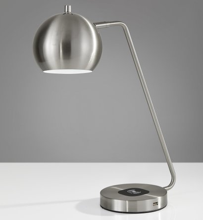 Emerson Charge Desk Lamp Brushed Steel