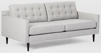 West Elm Drake Sofa  Twill Platinum And Chocolate