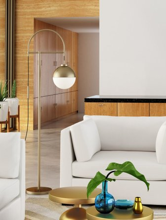 Waterloo Floor Lamp White & Brushed Brass