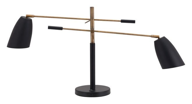 Tanner Table Lamp Matt Black & Brass
