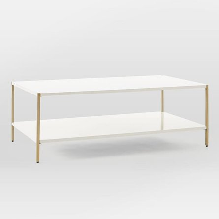 West Elm Zane Coffee Table White And Antique Brass