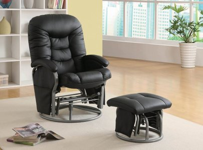 Modern Glider Recliner And Ottoman Set Black
