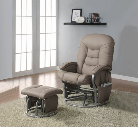Modern Faux Leather Glider Recliner And Ottoman Set Gray