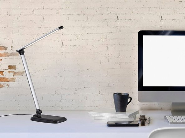 Adesso LED Desk Lamp with Touch Dimmer, USB Port Black & Silver