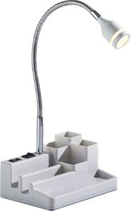 Adesso LED Desk Lamp with USB Port Plus Storage White
