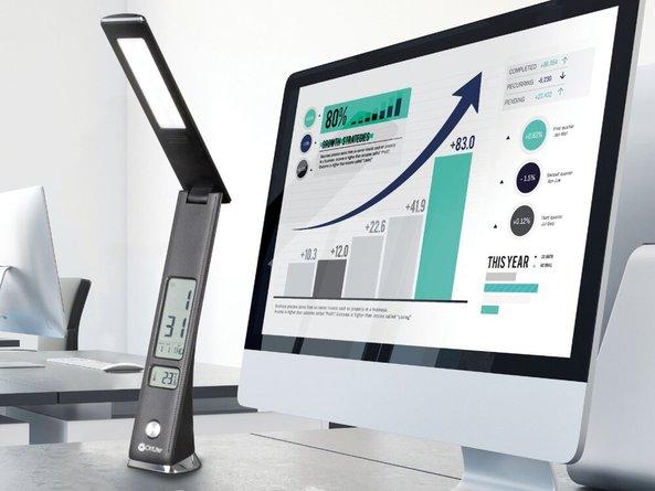 OttLite Rise LED Desk Lamp with USB Charging Black