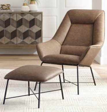 Hemingway Leather Lounge Chair with Ottoman Brown