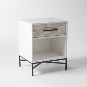 West Elm Wood Tiled Nightstand White