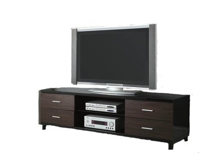 Contemporary TV Console Glossy Black And Dark Walnut