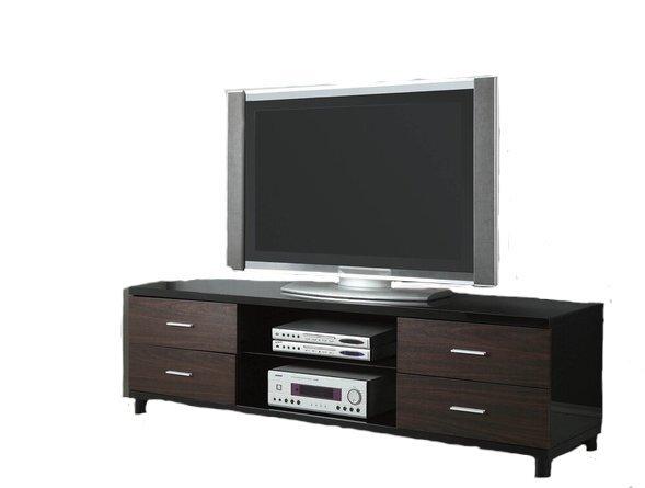 Contemporary TV Console Glossy Black And Dark Walnut