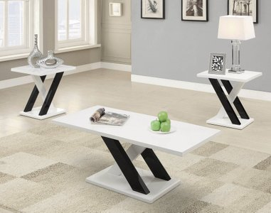 Contemporary 3-Piece Table Set White And Black