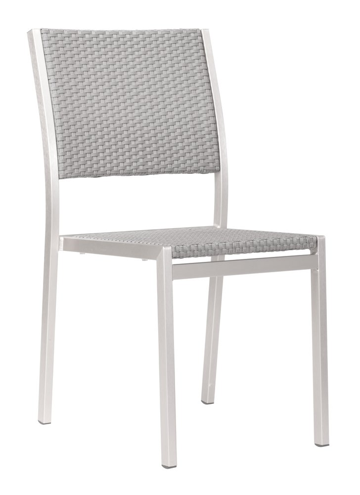 Metropolitan Dining Armless Chair Brushed Aluminum ( Set of 2 )