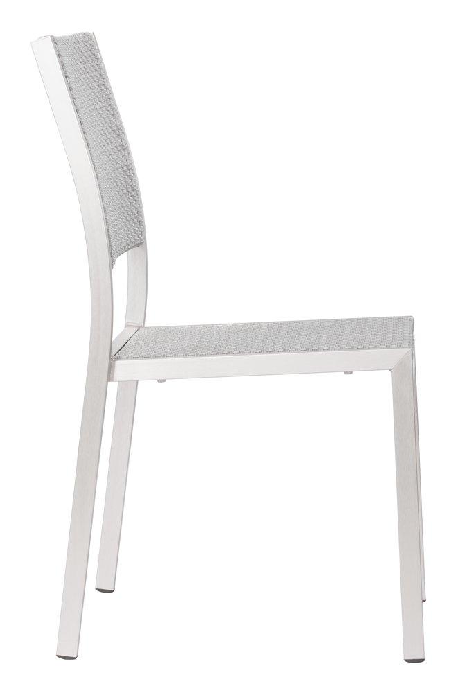 Metropolitan Dining Armless Chair Brushed Aluminum ( Set of 2 )