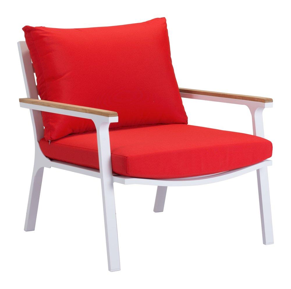 Maya Beach Arm Chair Red, Natural & Wht