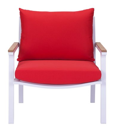 Maya Beach Arm Chair Red, Natural & White