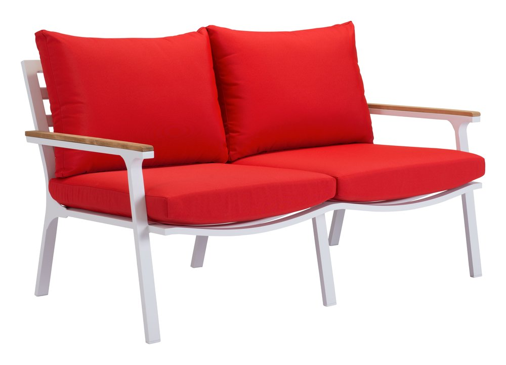 Maya Beach Sofa Red, Natural & White