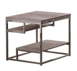Modern End Table Weathered Gray And Black Nickel