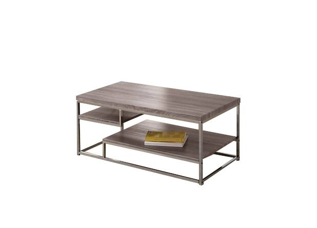 Modern Coffee Table Weathered Gray And Black Nickel