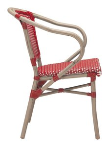 Paris Dining Arm Chair Red & White (Set Of 2)