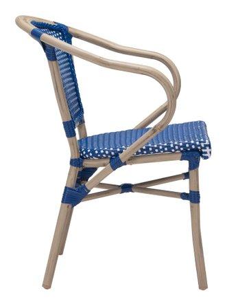 Paris Dining Arm Chair Navy Blue & White (Set of 2)