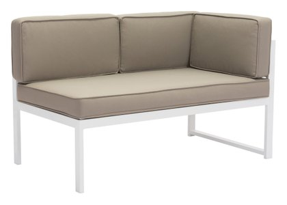 Golden Beach Chaise RHF White & Taupe