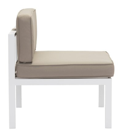 Golden Beach Middle Chair White & Taupe (Set of 2 Units)