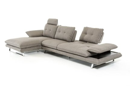 Divani Casa Porter Left Extended Sectional Sofa Gray