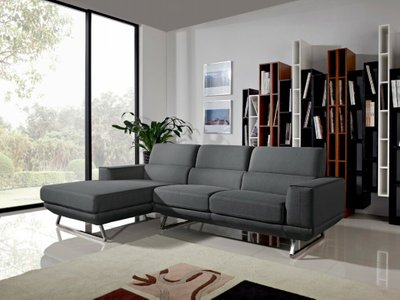 Becket Modern Left Extended Sectional Sofa Dark Gray