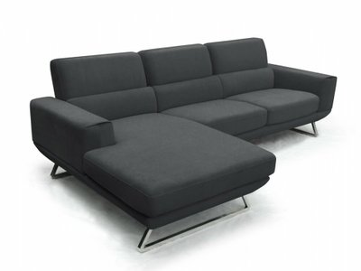 Becket Modern Left Extended Sectional Sofa Dark Gray
