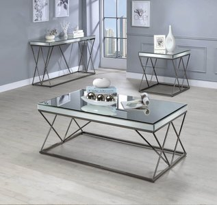 Contemporary End Table Black Nickel And Clear