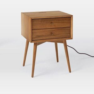 West Elm Mid Century Charging Nightstand Acorn