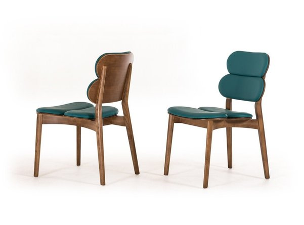 Raeanne Modern Dining Chair Turquoise & Walnut (Set of 2)
