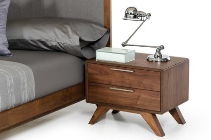 Soria Modern Walnut Nightstand