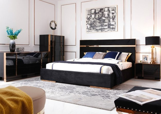 Nova Domus Cartier Modern Nightstand Black & Rosegold
