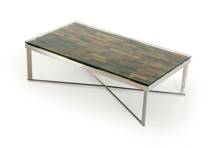 Santiago Modern Mosaic Coffee Table Brown