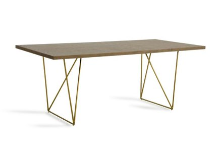 Marcia Modern Tobacco Dining Table Brass
