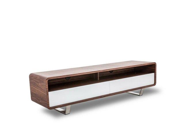 Avis Modern TV Stand Walnut & White
