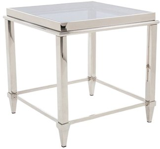 Agar End Table Gray & Stainless Steel