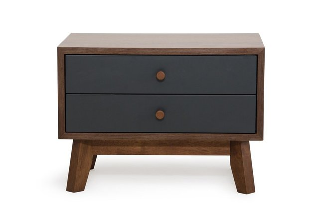 Dali Modern Nightstand Gray And Walnut