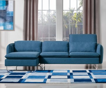 Divani Casa Aleida Left Extended Sectional Sofa Blue