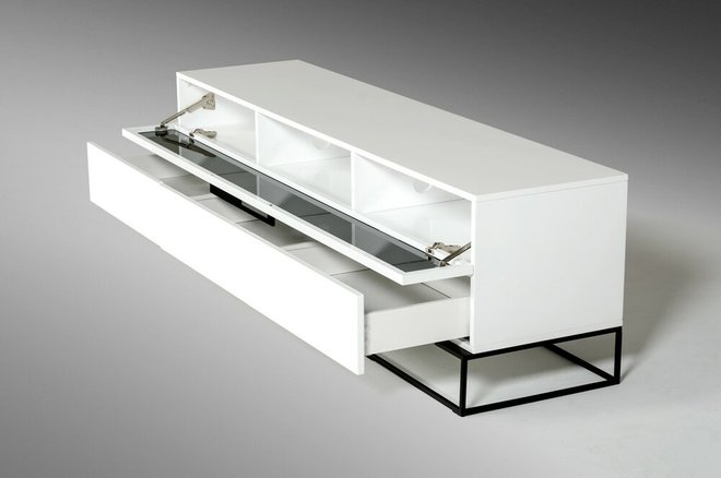 Colby Modern White & Black TV Stand