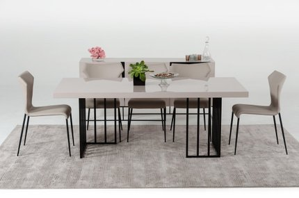 Modrest Hope Modern Dining Table Gray Gloss