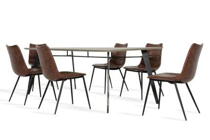 Claw & Gilliam Modern Dining Set for 8 Dark Gray