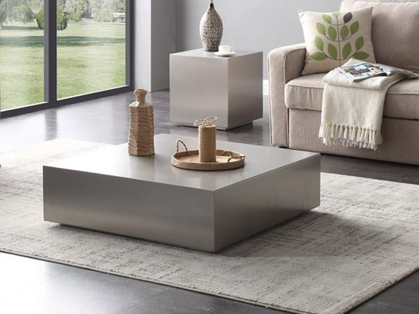 Anvil Coffee Table Brushed Stainless Steel