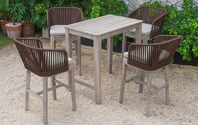 Renava Fiji Outdoor Bar Table Set Beige And Gray